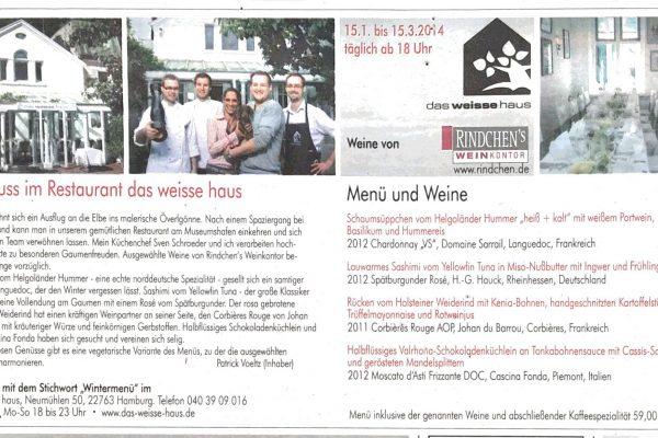 2014-0116_hh-abenblatt_livemagazin_anzeige-winter-genuss-im-restaurant-das-weisse-haus